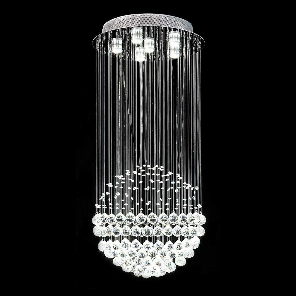 Jupiter pendant complete with complimentary lamps polished chrome backplate and utilising k9 crystal
