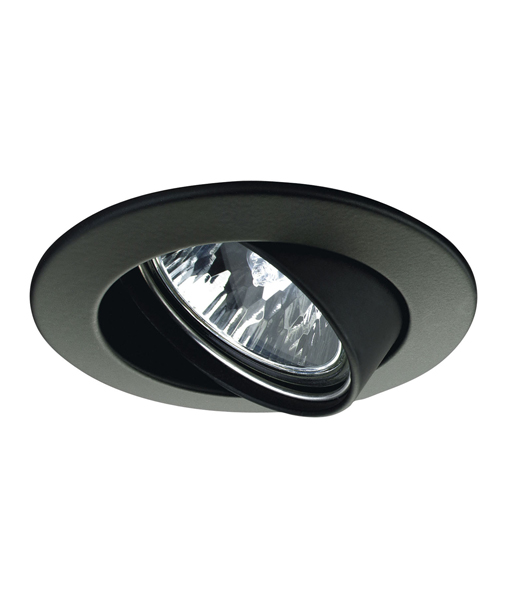 Downlight Fitting Round Gimbal Matt Black In Mr16 90mm